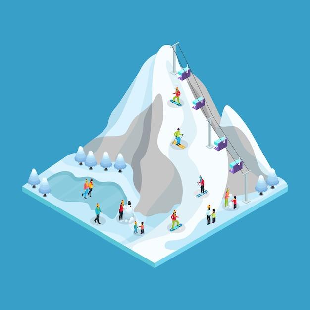 Isometrische winter vrijetijdsbesteding concept met mensen en ski schaatsen en snowboarden resort geïsoleerd Gratis Vector