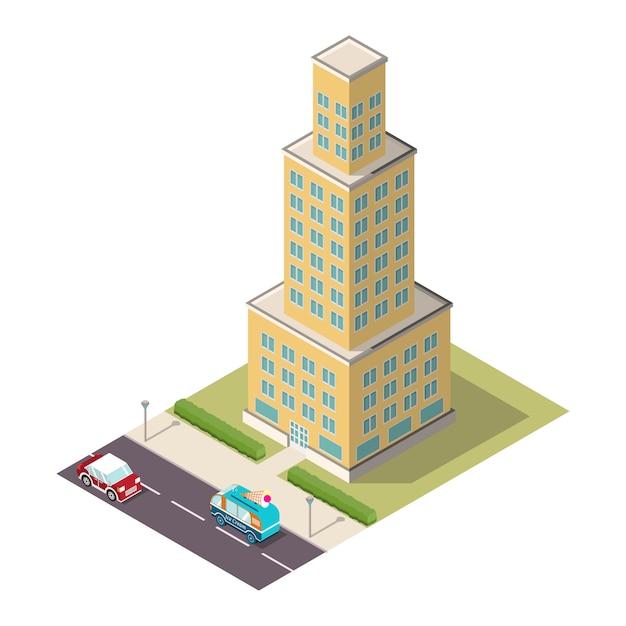 Isometrische wolkenkrabber met een weg en auto's. Premium Vector