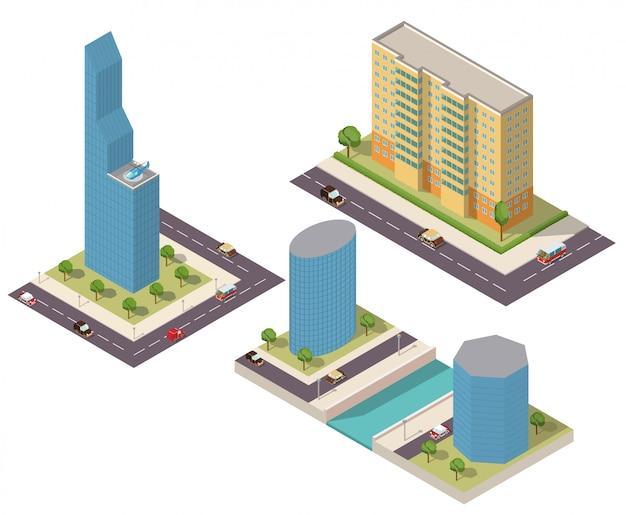 Isometrische wolkenkrabbers van een gebouw met wegen en auto's. Premium Vector