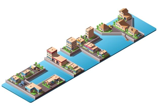 Isometrische woordstad met laag poly gebouwen en auto's Premium Vector