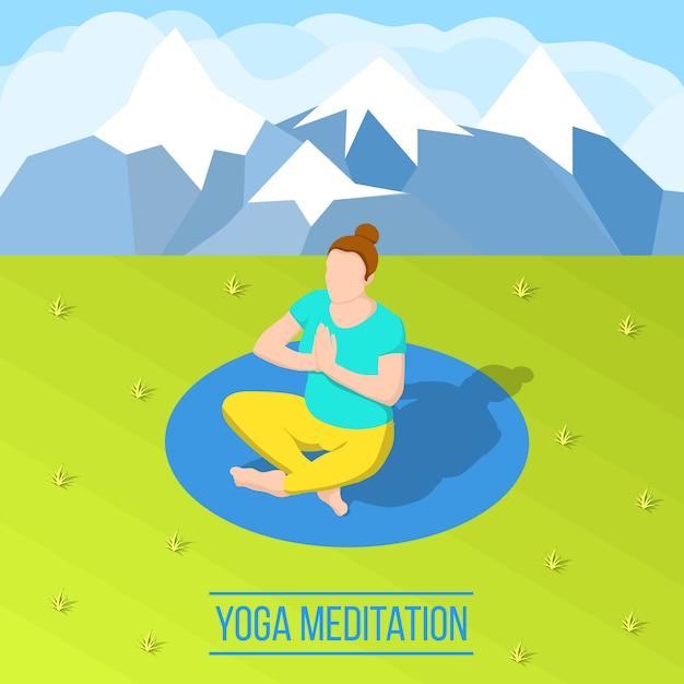 Isometrische yogasamenstelling Gratis Vector