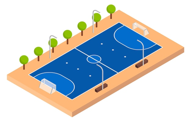 Isometrische zaalvoetbalveld Premium Vector