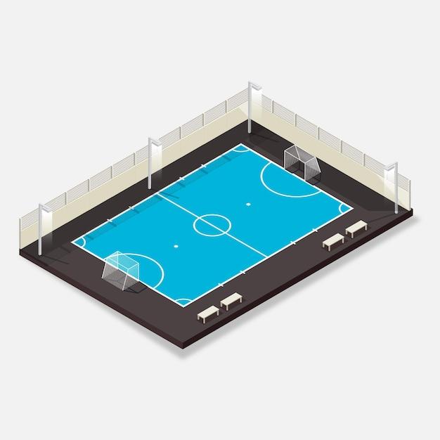 Isometrische zaalvoetbalveld Gratis Vector