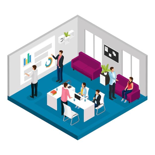 Isometrische zakelijke bijeenkomst concept Gratis Vector