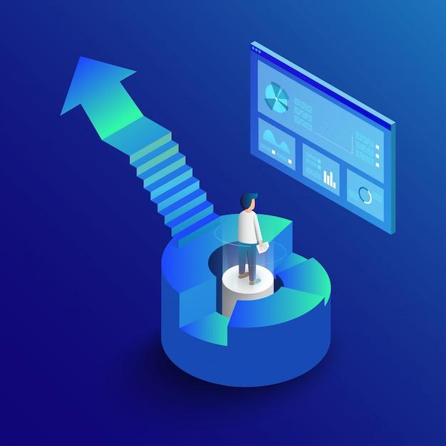 Isometrische zakelijke infographic met diagrammen en grafieken. Premium Vector