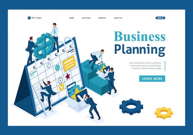 Isometrische zakenlieden maken een businessplan voor de bestemmingspagina van de volgende maand Premium Vector