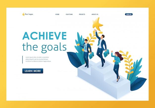 Isometrische zakenman bereiken van een droom, het bereiken van doelen, het winnen van succes bestemmingspagina Premium Vector
