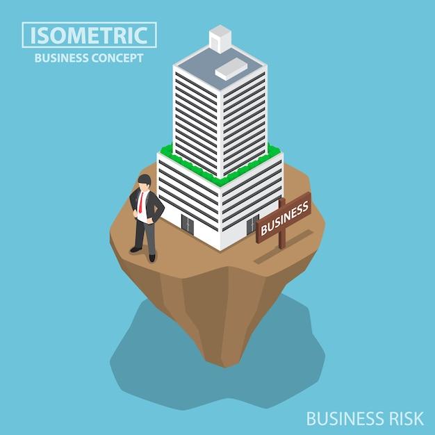 Isometrische zakenman bouwt bedrijf voort op onstabiel land, bedrijfs- en investeringsrisicoconcept Premium Vector