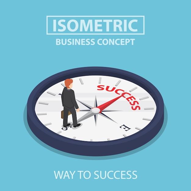 Isometrische zakenman die zich op kompas bevindt dat op succes wijst Premium Vector