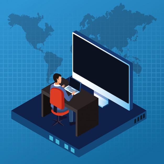Isometrische zakenman en technologie Premium Vector