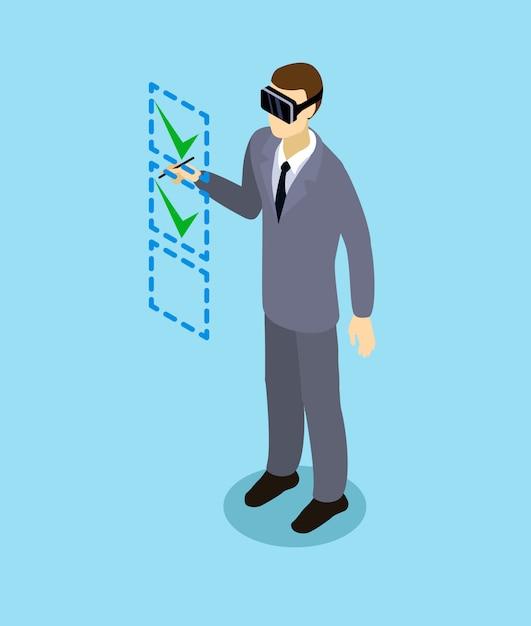 Isometrische zakenman met virtual reality headset Gratis Vector