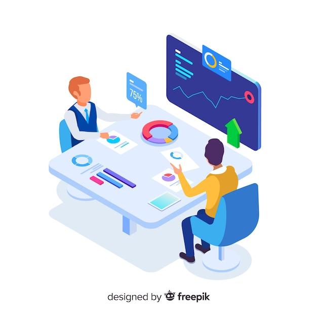 Isometrische zakenmensen in een vergadering illustratie Premium Vector