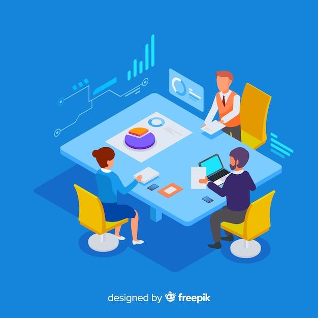 Isometrische zakenmensen in een vergadering Gratis Vector