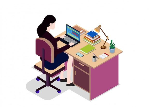 Isometrische zakenvrouw kijken naar het scherm van de laptop Premium Vector
