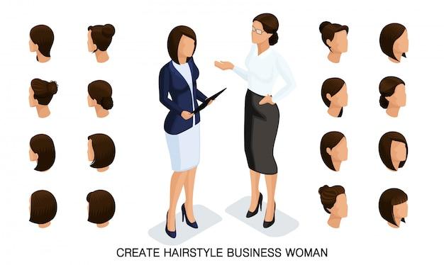 Isometrische zakenvrouw set 5 3d, kapsels voor vrouwen om een stijlvolle zakenvrouw, modieuze kapsel achteraanzicht te creëren Premium Vector