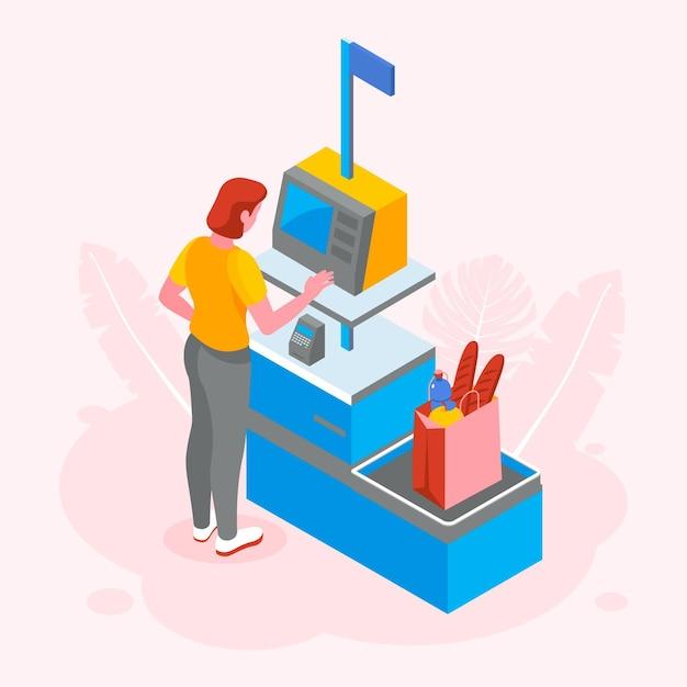 Isometrische zelfbediening kassier illustratie Gratis Vector