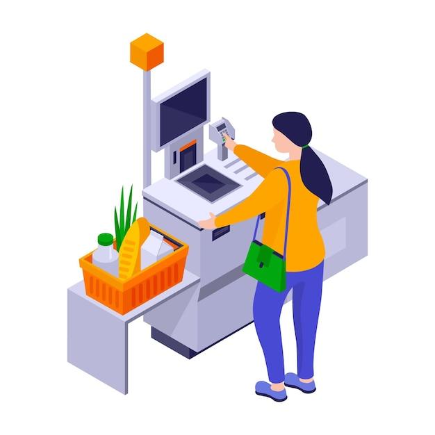 Isometrische zelfbedieningskassier Gratis Vector