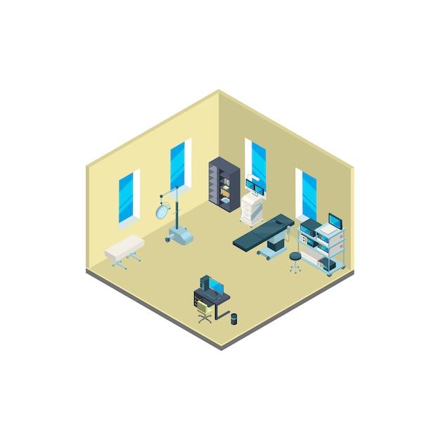 Isometrische ziekenhuis interieur met meubels en medische apparatuur illustratie Premium Vector