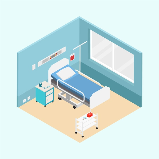 Isometrische ziekenhuis kamer concept Premium Vector