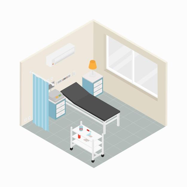 Isometrische ziekenhuis kamer concept Gratis Vector