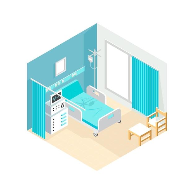 Isometrische ziekenhuiskamer Gratis Vector