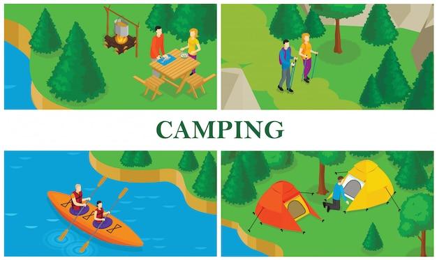 Isometrische zomertoerisme kleurrijke samenstelling met mensen die voedsel koken die tent plaatsen die kajakken doen en wandelen Gratis Vector