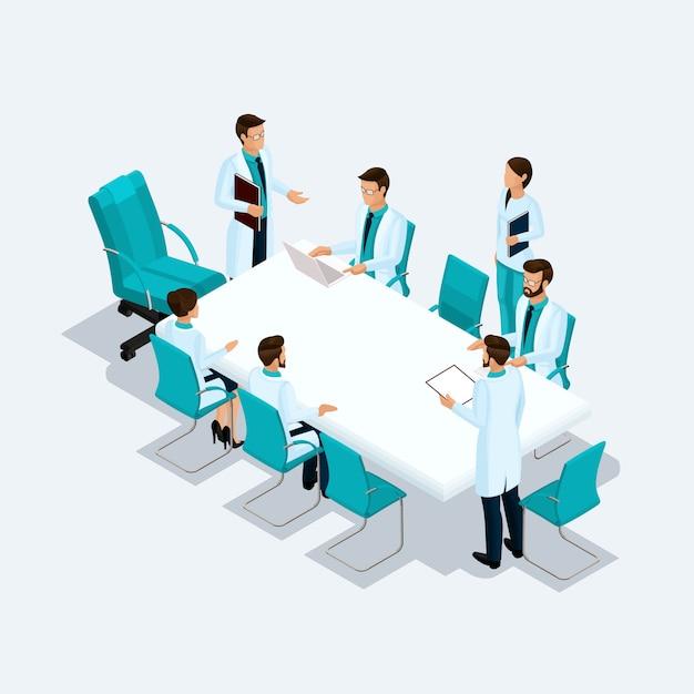 Isometrische zorgverleners, chirurgen, verpleegster, arts instellen bij een consult, discussie, brainstormen geïsoleerd op een lichte achtergrond Premium Vector