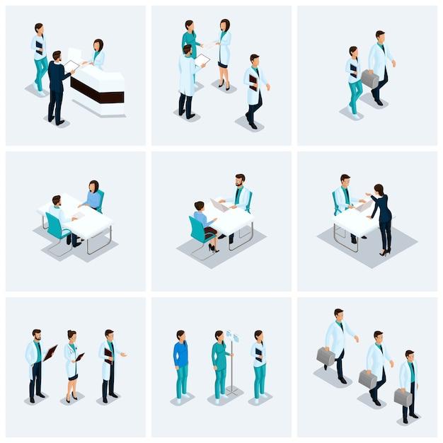 Isometrische zorgverleners, chirurgen, verpleegster, arts kits instellen ziekenhuis 3d concept geïsoleerd op een lichte achtergrond Premium Vector