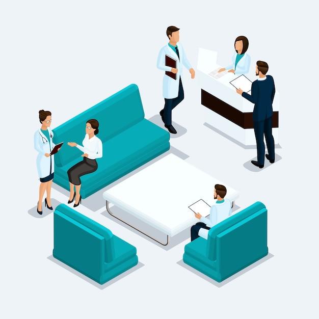 Isometrische zorgverleners, chirurgen, verpleegster, arts, patiëntenontvangst in het ziekenhuis instellen geïsoleerd op een lichte achtergrond Premium Vector