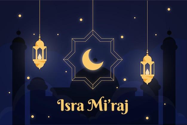 Isra miraj illustratie met maan en lantaarns Gratis Vector