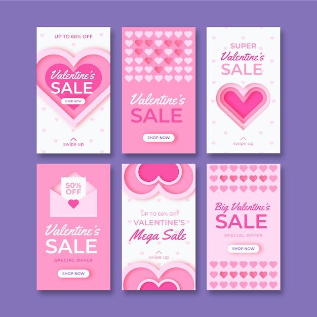 Istagram valentijnsdag verkoop verhalen sjabloon Premium Vector