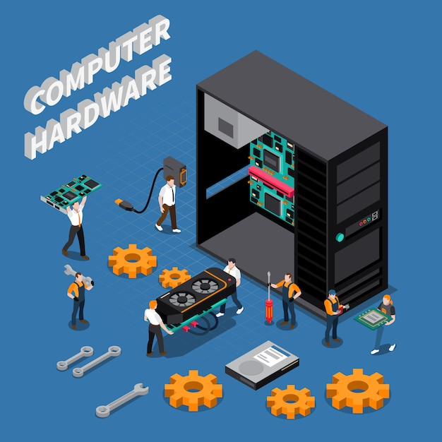 It engineer isometric compoisition Gratis Vector