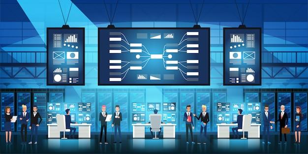 It-ingenieurs in big datacenters werken aan nieuwe technologie Premium Vector
