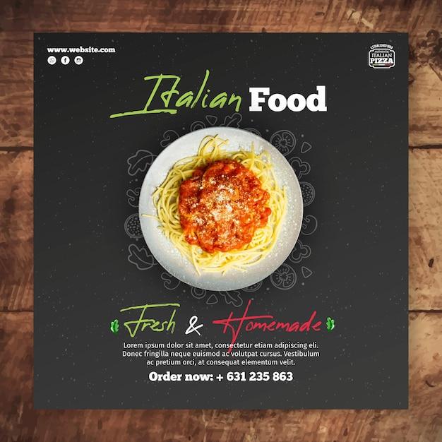 Italiaans eten flyer-sjabloon Gratis Vector