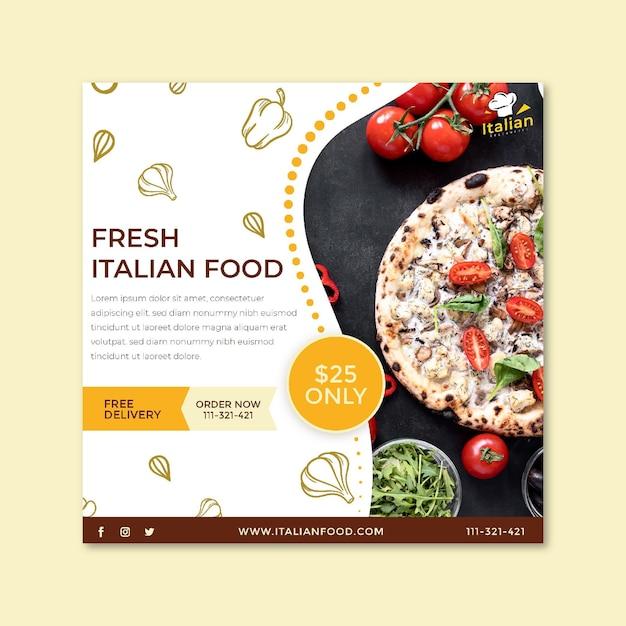 Italiaans eten flyer vierkant Premium Vector