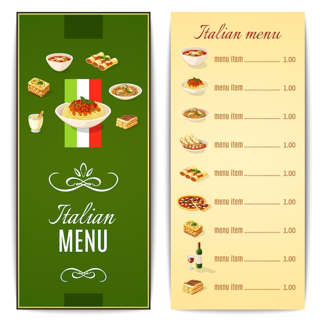 menu italiaans