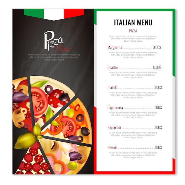 Italiaans pizza-menuontwerp Gratis Vector