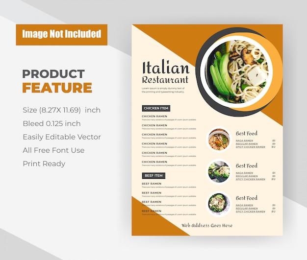 Italiaans restaurant eten menusjabloon folder. Gratis Vector