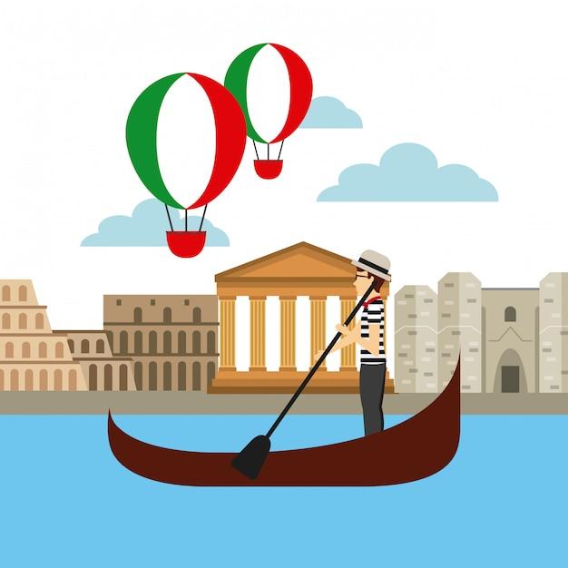 Italiaanse cultuur vakantie pictogram Premium Vector