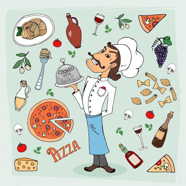 Italiaanse keuken en voedsel met de hand getekende illustratie Gratis Vector