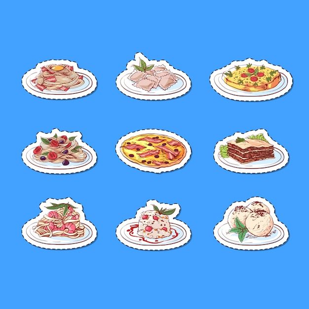 Italiaanse keuken gerechten geïsoleerde stickers Premium Vector