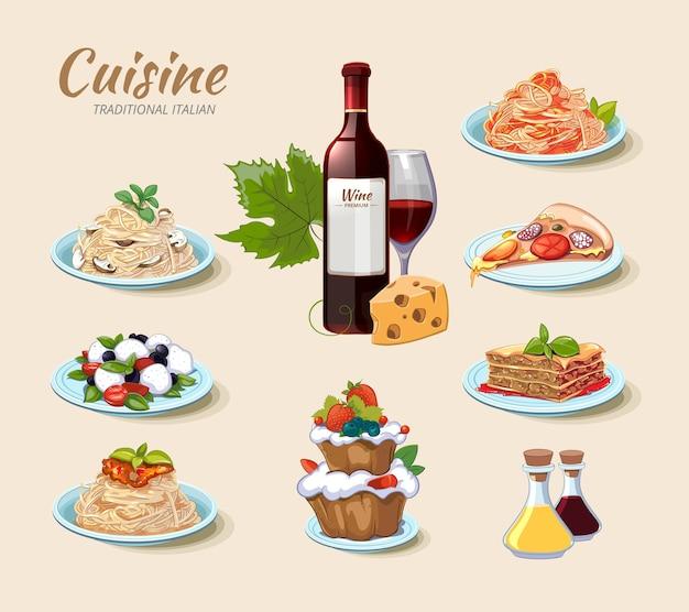 Italiaanse keuken pictogrammen instellen Gratis Vector