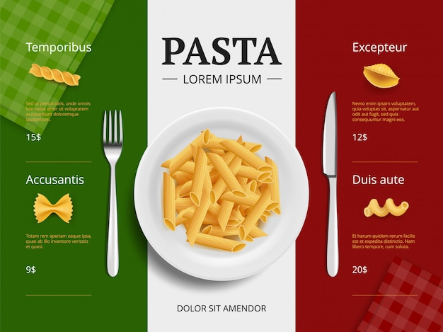 Italiaanse menudekking. pasta op plaat heerlijke restaurant macaroni spaghetti koken ingrediënten plakkaat sjabloon bovenaanzicht Premium Vector