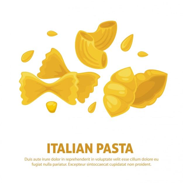 Italiaanse pasta keuken vector poster Premium Vector