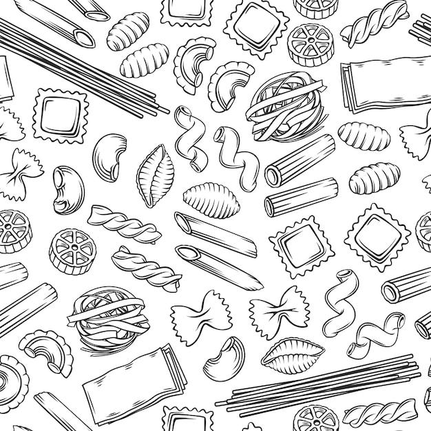 Italiaanse pasta naadloze patroon macaroni overzicht illustratie Premium Vector