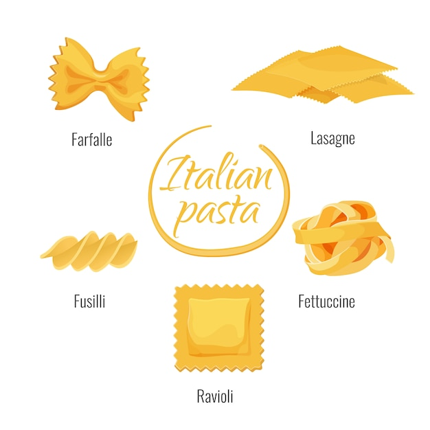 Italiaanse pasta soorten vector geïsoleerde pictogrammen Premium Vector