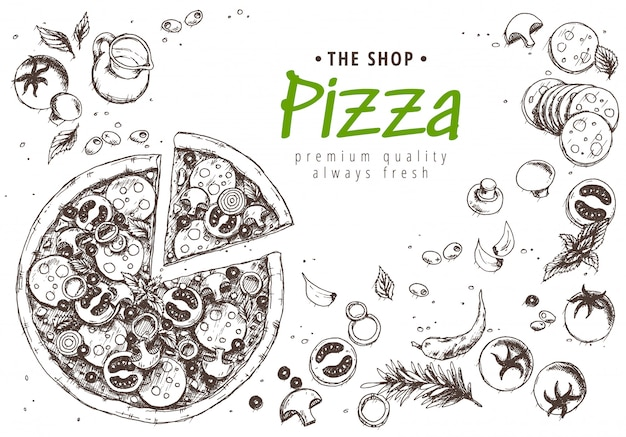 Italiaanse pizza menu bovenaanzicht Premium Vector