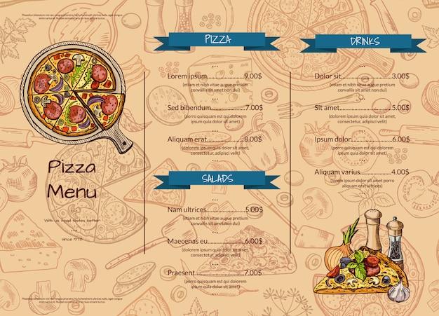 Italiaanse pizza restaurant menusjabloon met hand getrokken gekleurde elementen. Premium Vector