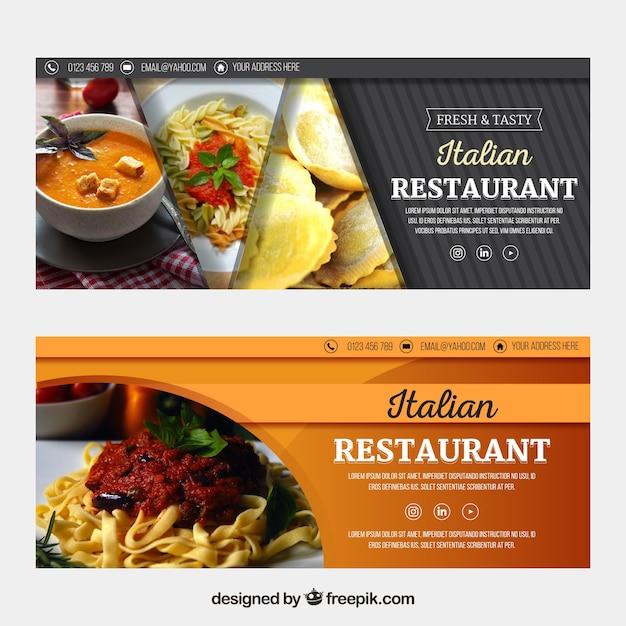 Italiaanse restaurant webbanner collectie met foto Gratis Vector
