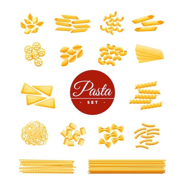 Italiaanse traditionele keuken droge pasta verscheidenheden iconen collectie van spaghetti macaroni Gratis Vector